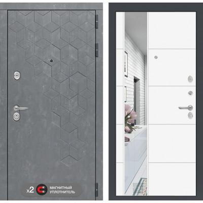 Стальная дверь Лабиринт Бетон 19 с зеркалом (Белый софт)