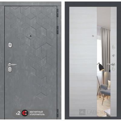 Стальная дверь Лабиринт Бетон с зеркалом (Акация светлая)