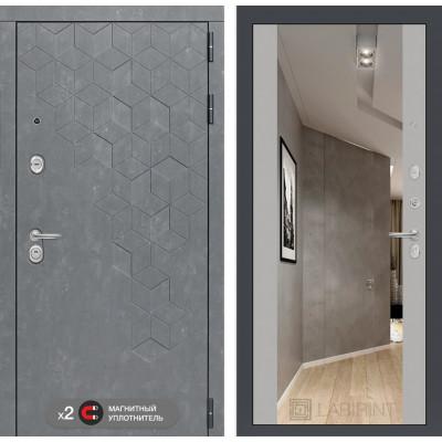 Стальная дверь Лабиринт Бетон Максимум с зеркалом (Грей софт)