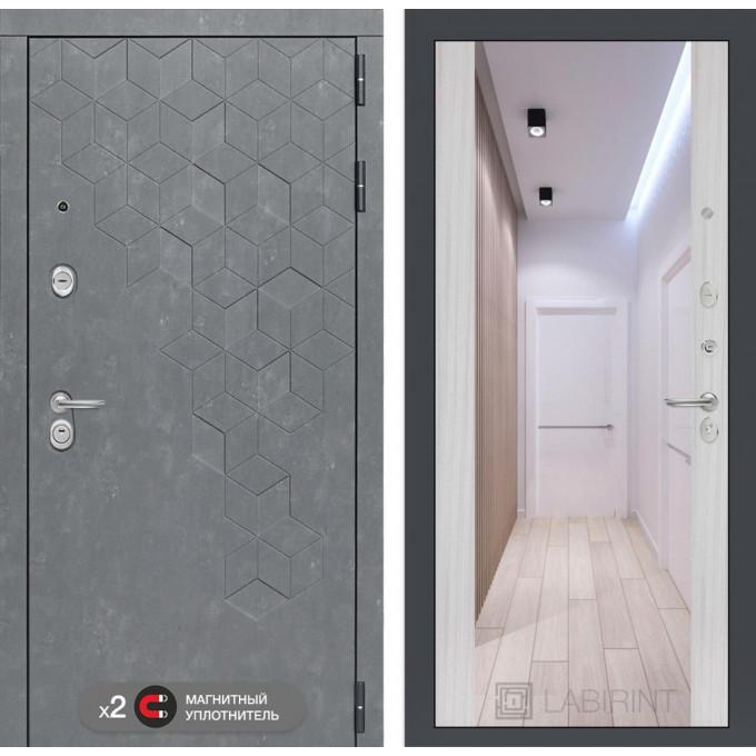 Стальная дверь Лабиринт Бетон Максимум с зеркалом (Сандал белый)