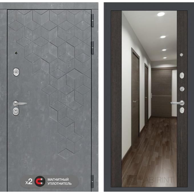 Стальная дверь Лабиринт Бетон Максимум с зеркалом (Венге)