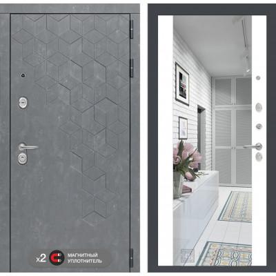 Стальная дверь Лабиринт Бетон Максимум с зеркалом (Белый софт)