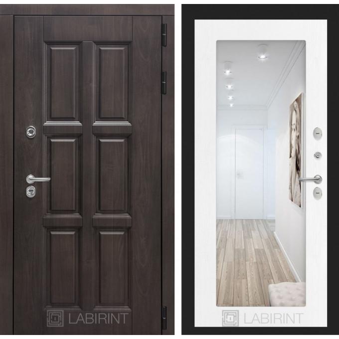 Стальная дверь Лабиринт Лондон с терморазрывом 18 с зеркалом (Белое дерево)