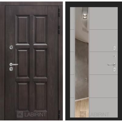 Стальная дверь Лабиринт Лондон с терморазрывом 19 с зеркалом (Грей софт)