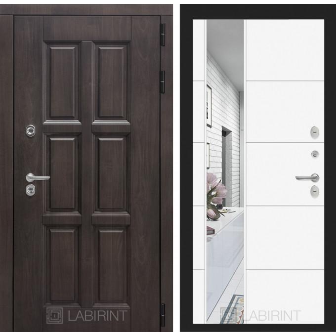 Стальная дверь Лабиринт Лондон с терморазрывом 19 с зеркалом (Белый софт)