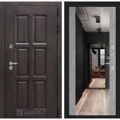 Стальная дверь Лабиринт Лондон с терморазрывом Максимум с зеркалом (Бетон светлый)