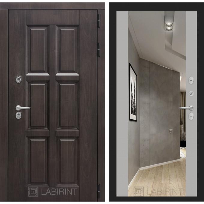Стальная дверь Лабиринт Лондон с терморазрывом Максимум с зеркалом (Грей софт)