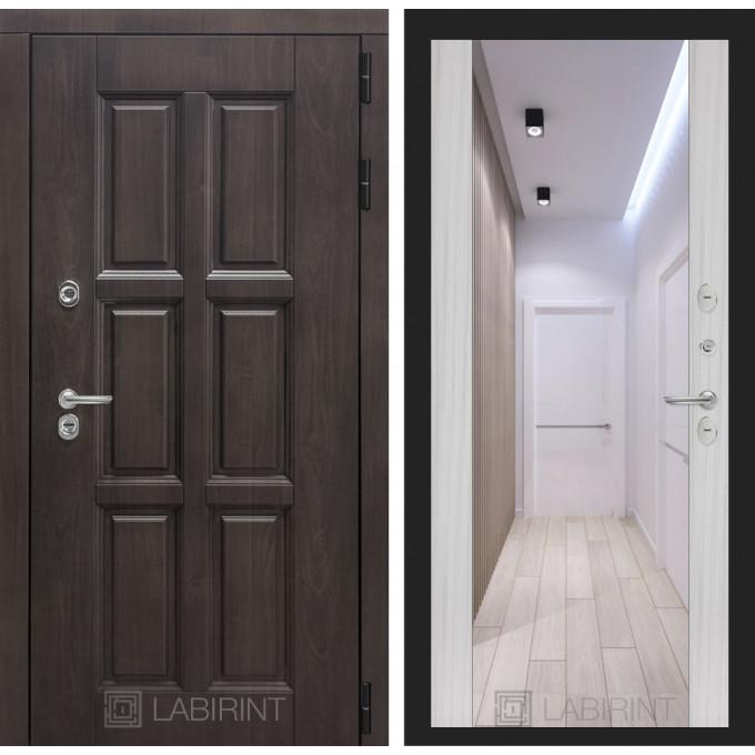 Стальная дверь Лабиринт Лондон с терморазрывом Максимум с зеркалом (Сандал белый)