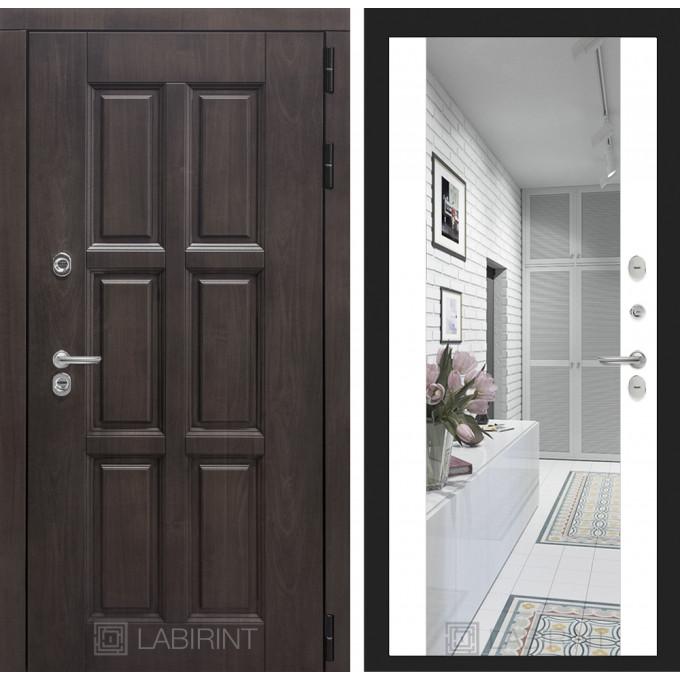 Стальная дверь Лабиринт Лондон с терморазрывом Максимум с зеркалом (Белый софт)