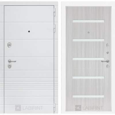 Стальная дверь Лабиринт TRENDO 01 (Сандал белый)