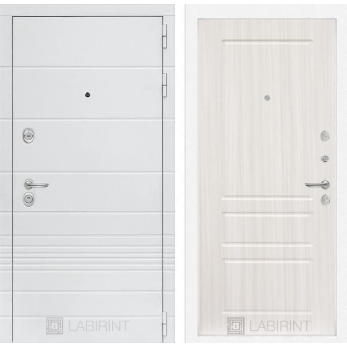 Стальная дверь Лабиринт TRENDO 03 (Сандал белый)