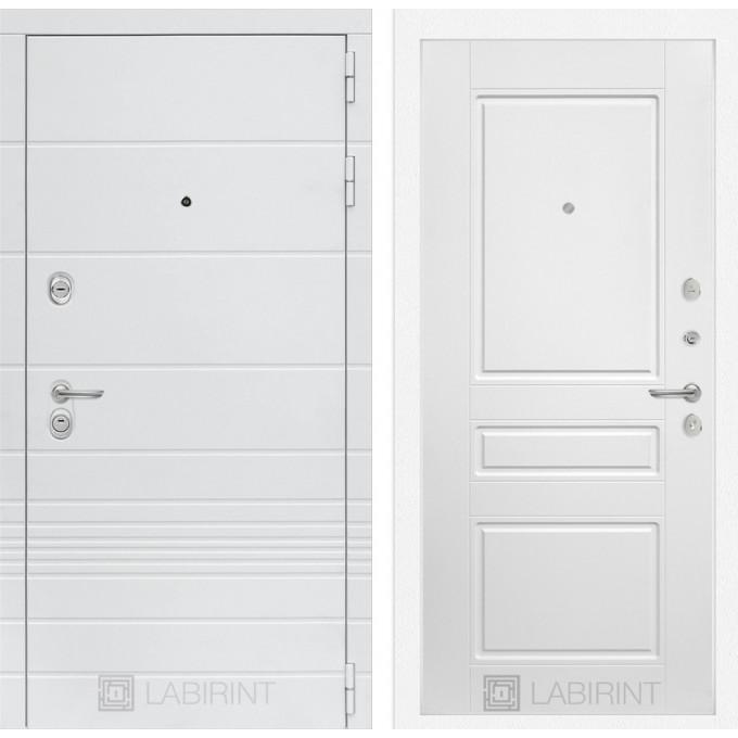 Стальная дверь Лабиринт TRENDO 03 (Белый софт)