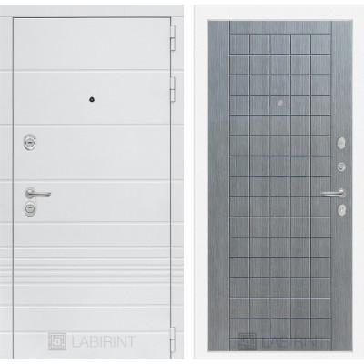 Стальная дверь Лабиринт TRENDO 09 (Лен сильвер грей)