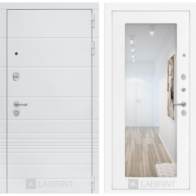 Стальная дверь Лабиринт TRENDO 18 с зеркалом (Белое дерево)