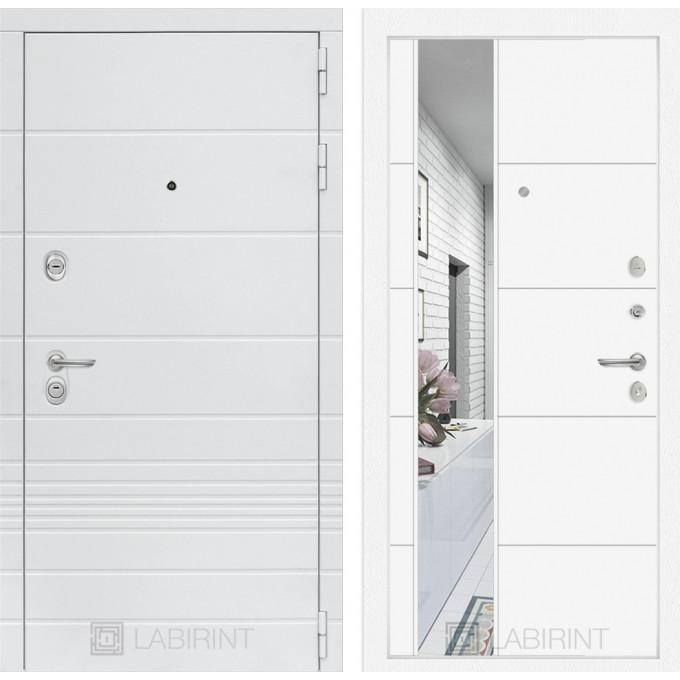 Стальная дверь Лабиринт TRENDO 19 с зеркалом (Белый софт)
