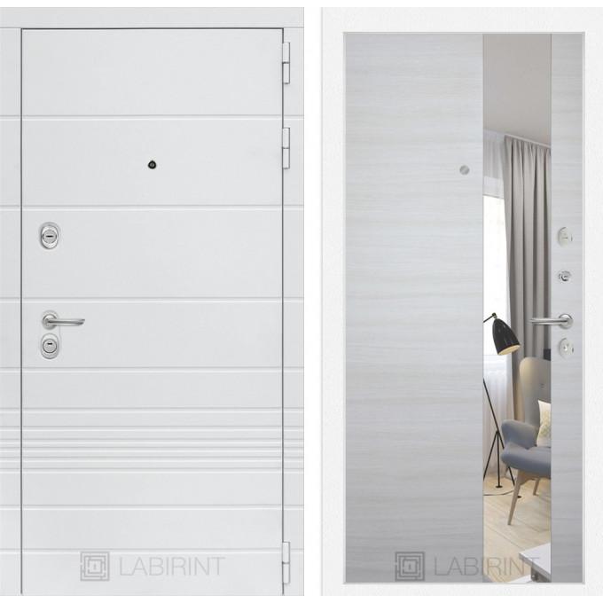 Стальная дверь Лабиринт TRENDO с зеркалом (Акация светлая)