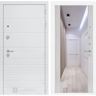 Стальная дверь Лабиринт TRENDO Максимум с зеркалом (Сандал белый)