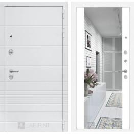 Стальная дверь Лабиринт TRENDO Максимум с зеркалом (Белый софт)