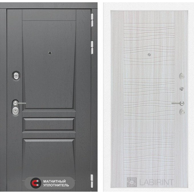 Стальная дверь Лабиринт Платинум 06 (Сандал белый)