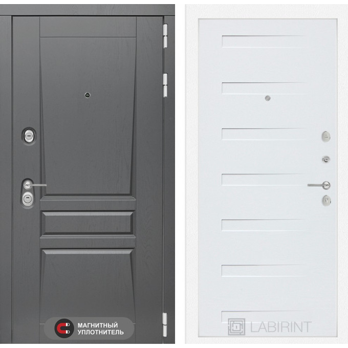 Стальная дверь Лабиринт Платинум 14 (Дуб кантри белый)