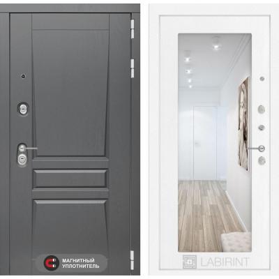 Стальная дверь Лабиринт Платинум 18 с зеркалом (Белое дерево)