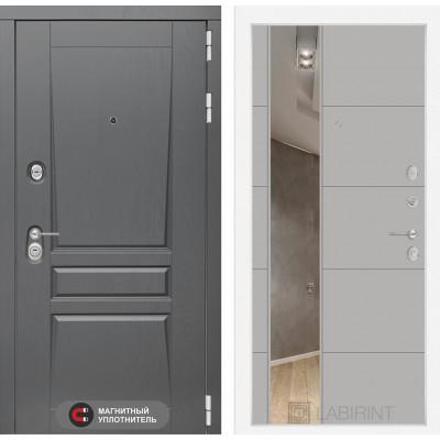 Стальная дверь Лабиринт Платинум 19 с зеркалом (Грей софт)