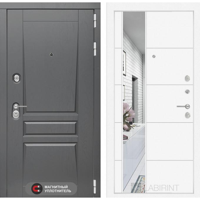 Стальная дверь Лабиринт Платинум 19 с зеркалом (Белый софт)