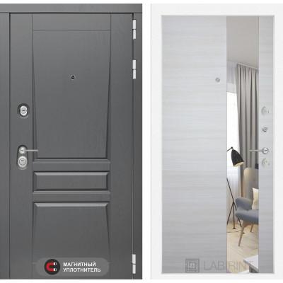 Стальная дверь Лабиринт Платинум с зеркалом (Акация светлая)