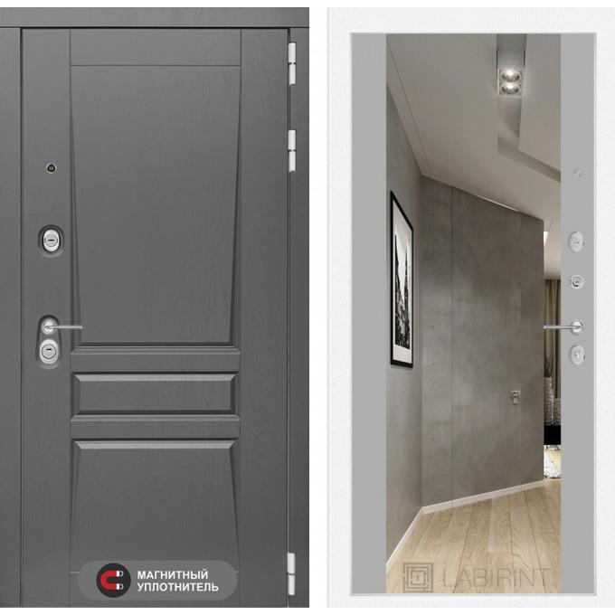 Стальная дверь Лабиринт Платинум Максимум с зеркалом (Грей софт)