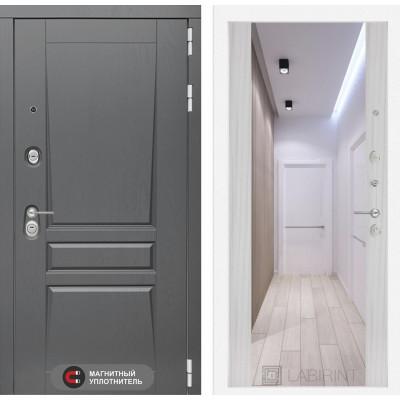 Стальная дверь Лабиринт Платинум Максимум с зеркалом (Сандал белый)
