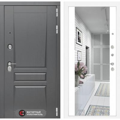 Стальная дверь Лабиринт Платинум Максимум с зеркалом (Белый софт)