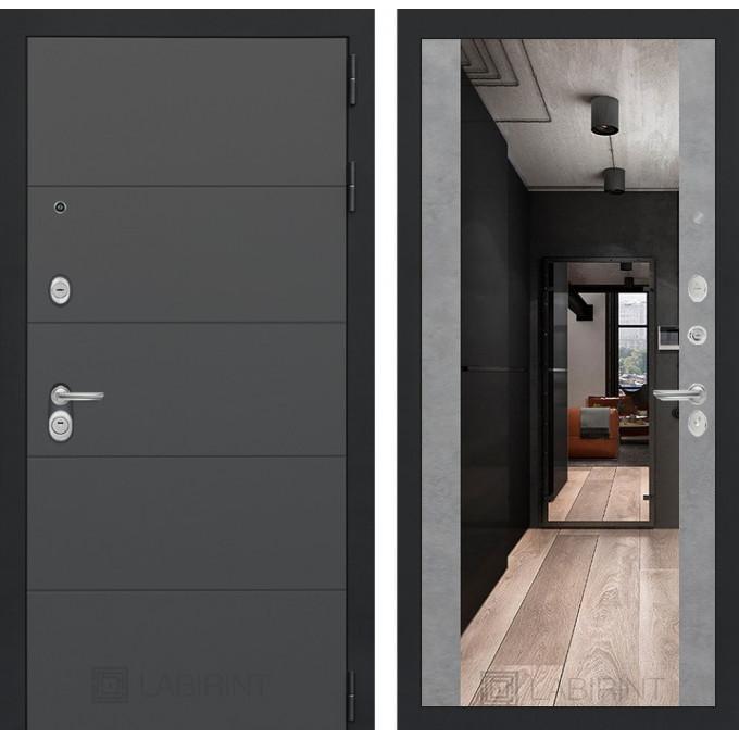 Стальная дверь Лабиринт ART Максимум с зеркалом (Бетон светлый)