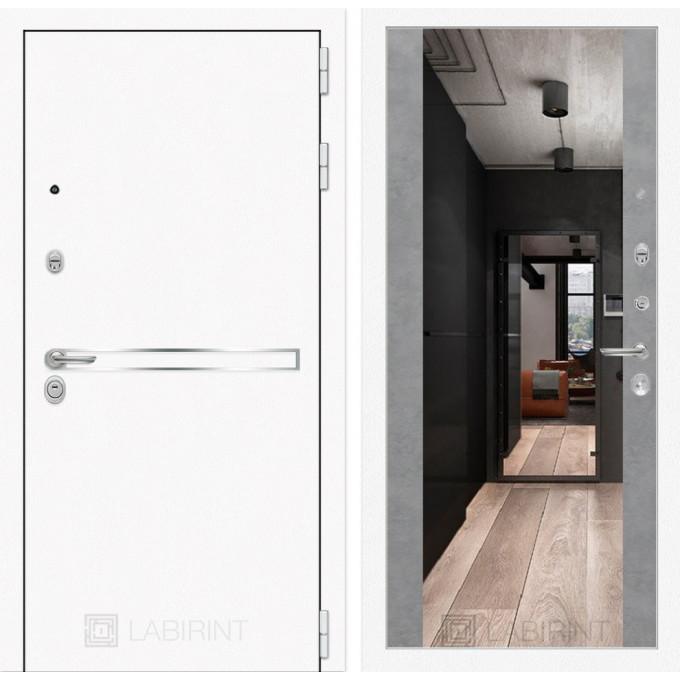 Стальная дверь Лабиринт LINE WHITE Максимум с зеркалом (Бетон светлый)