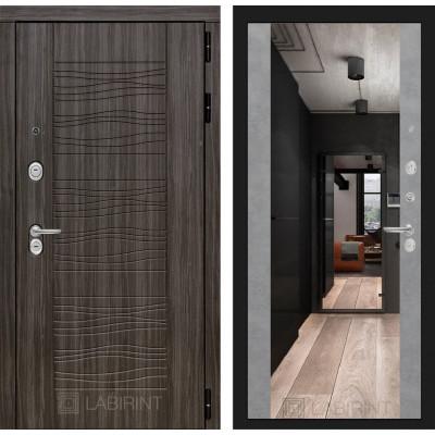 Стальная дверь Лабиринт SCANDI Максимум с зеркалом (Бетон светлый)