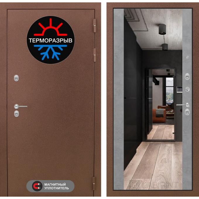 Стальная дверь Лабиринт Термо Магнит Максимум с зеркалом (Бетон светлый)