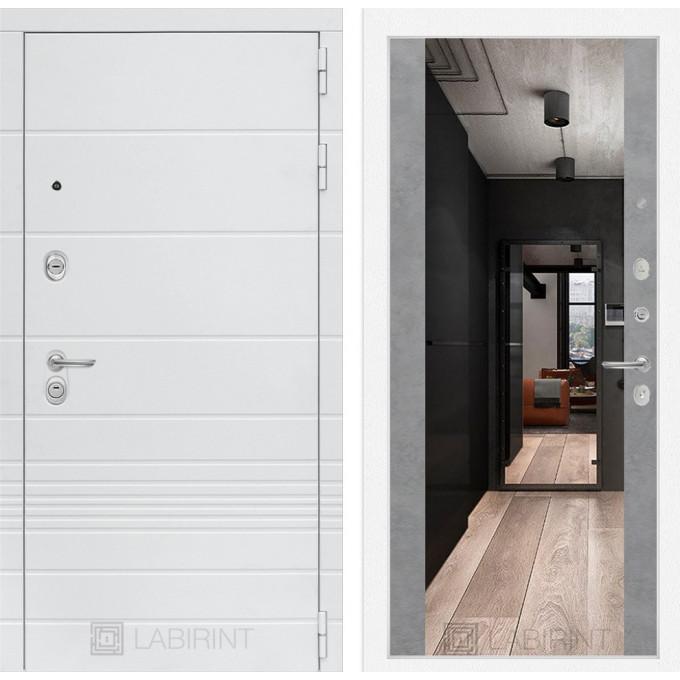 Стальная дверь Лабиринт TRENDO Максимум с зеркалом (Бетон светлый)