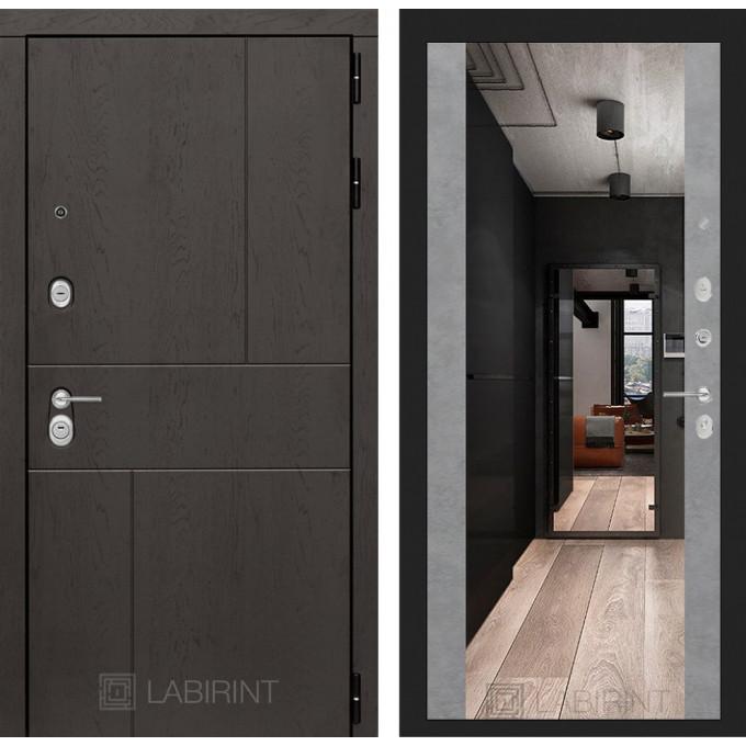 Стальная дверь Лабиринт URBAN Максимум с зеркалом (Бетон светлый)