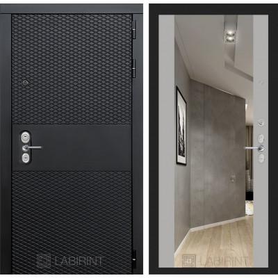 Стальная дверь Лабиринт BLACK Максимум с зеркалом (Софт Грей)
