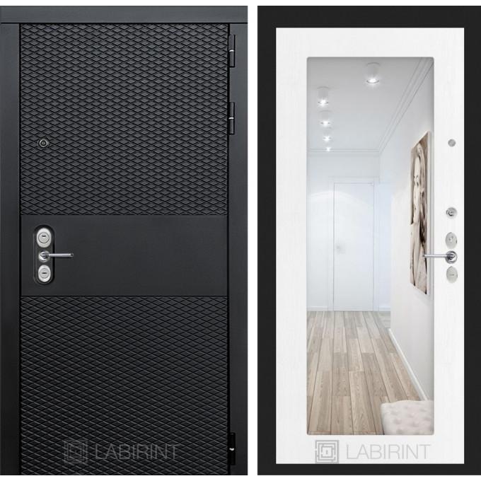 Стальная дверь Лабиринт BLACK 18 с зеркалом (Белое дерево)