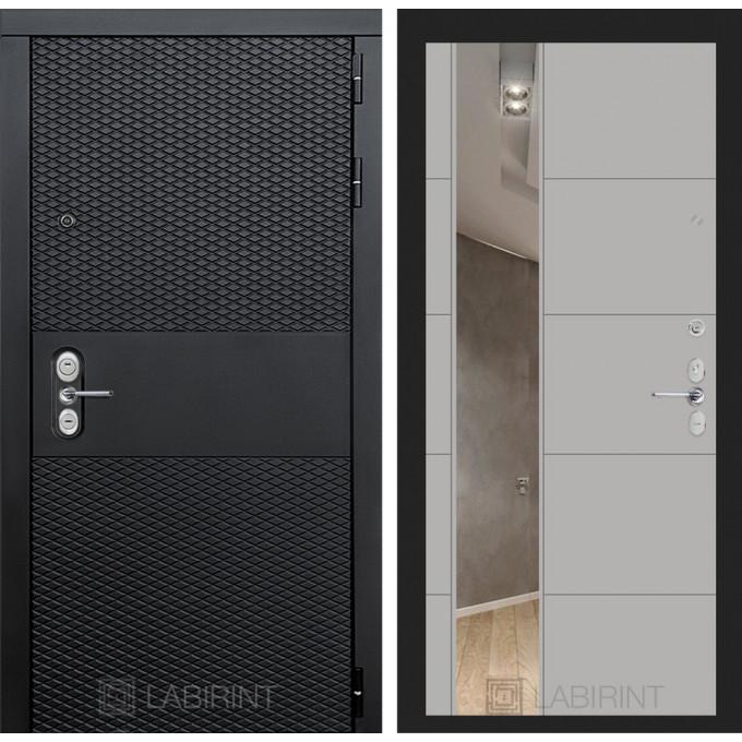 Стальная дверь Лабиринт BLACK 19 с зеркалом (Грей софт)
