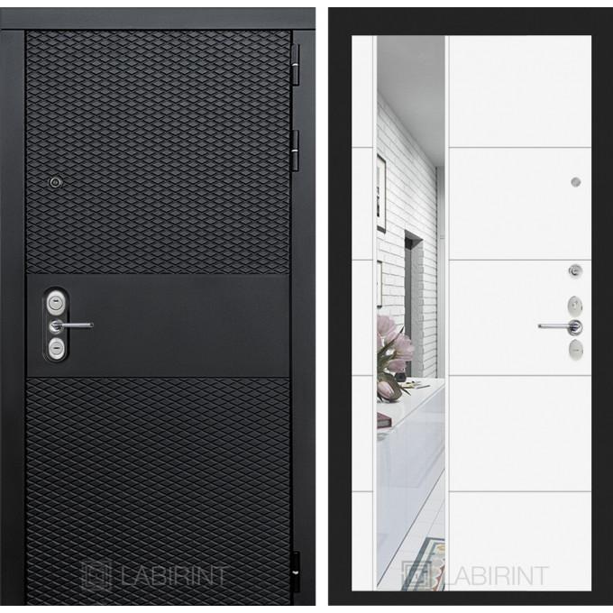 Стальная дверь Лабиринт BLACK 19 с зеркалом (Белый софт)