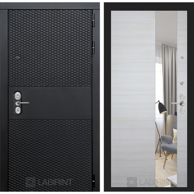 Стальная дверь Лабиринт BLACK с зеркалом (Акация светлая)