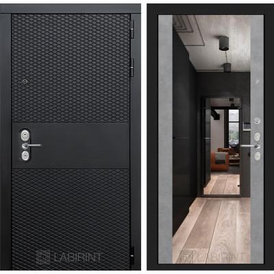 Стальная дверь Лабиринт BLACK Максимум с зеркалом (Бетон светлый)