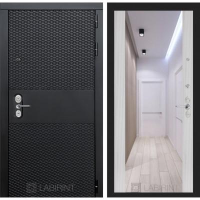 Стальная дверь Лабиринт BLACK Максимум с зеркалом (Сандал белый)