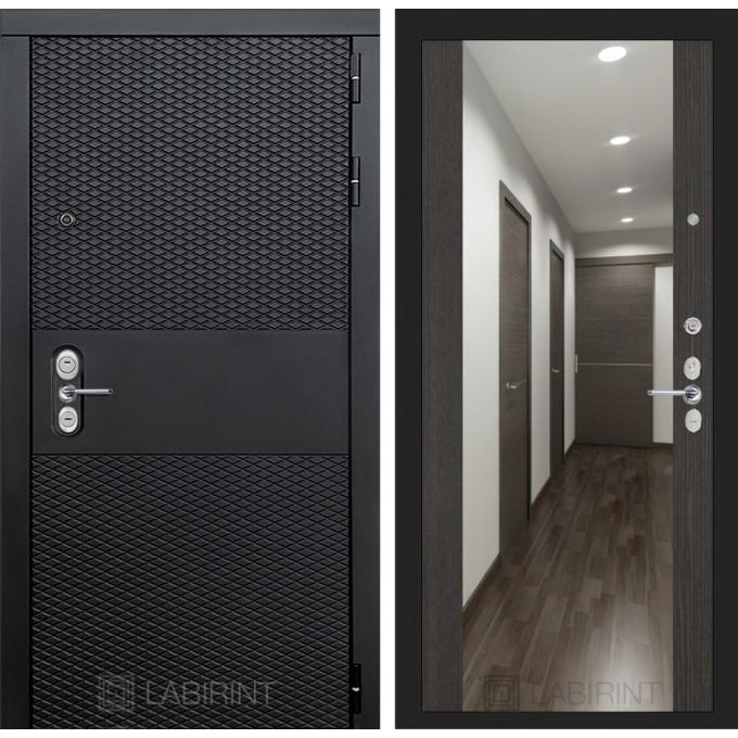 Стальная дверь Лабиринт BLACK Максимум с зеркалом (Венге)
