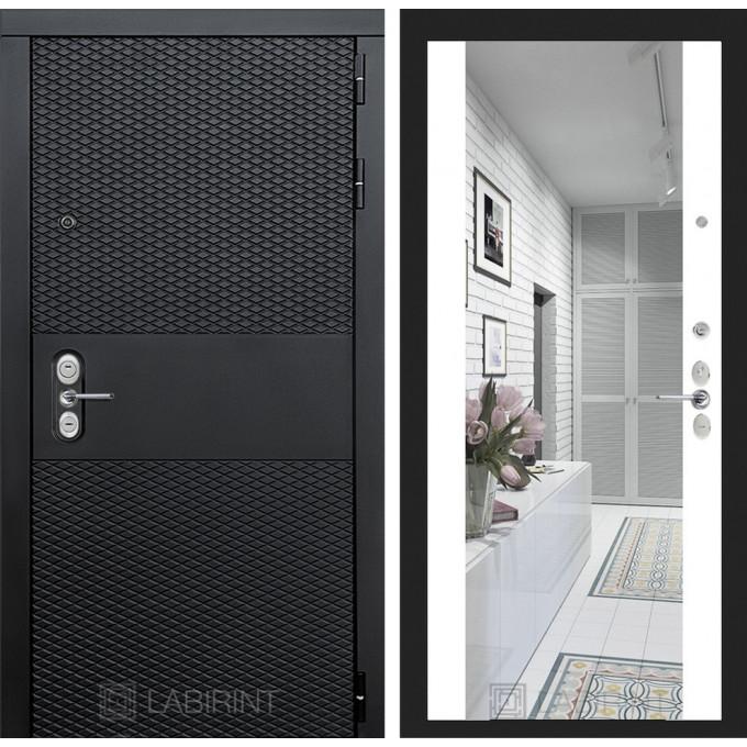 Стальная дверь Лабиринт BLACK Максимум с зеркалом (Белый софт)