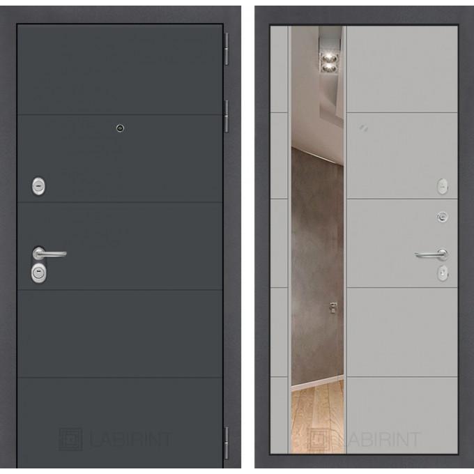 Стальная дверь Лабиринт ART 19 с зеркалом (Грей софт)