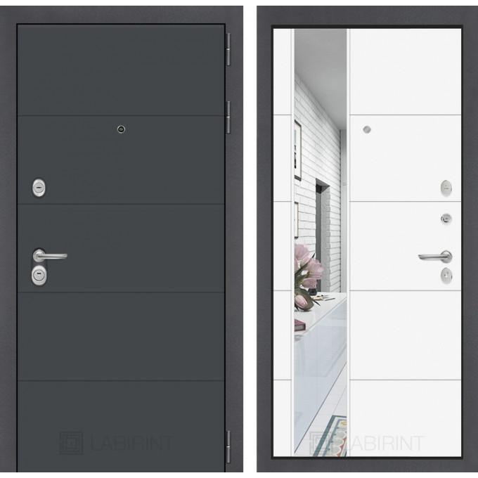 Стальная дверь Лабиринт ART 19 с зеркалом (Белый софт)