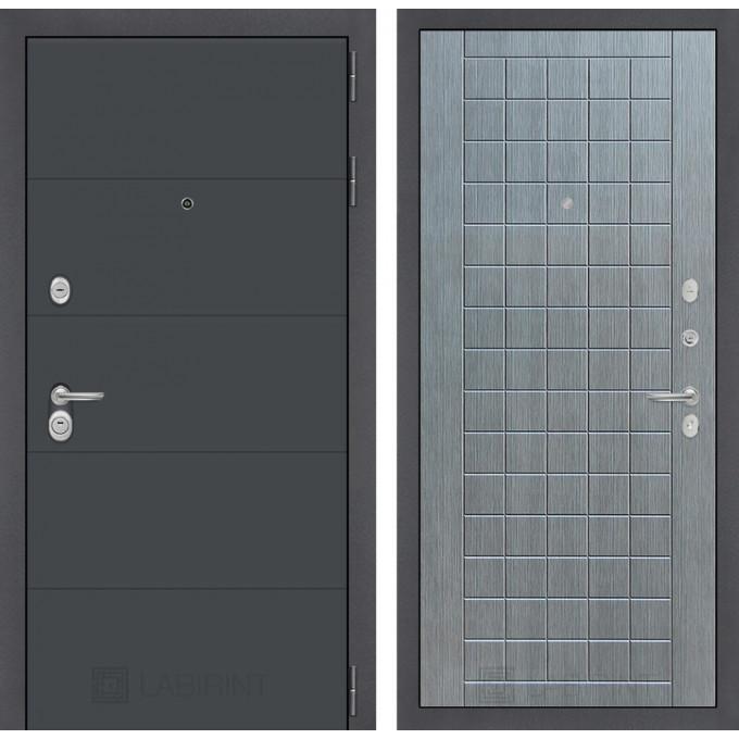 Стальная дверь Лабиринт ART 09 (Лен сильвер грей)