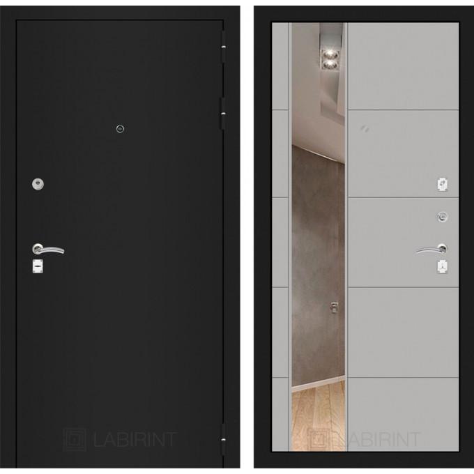 Дверь Лабиринт Classic 19 с зеркалом (Шагрень черная / Грей софт)